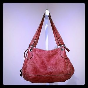 FOSSIL HAND TOOLED FLORAL EMBOSSED HOBO BAG